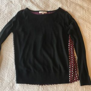 LOFT black sweater front, pleated blouse M